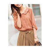 cecile女裝--蕾絲繫帶圓領雪紡7分袖上衣(粉色)