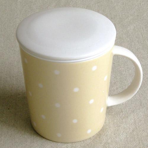 《甜美圓點》矽膠濾網陶瓷馬克杯(附杯蓋)