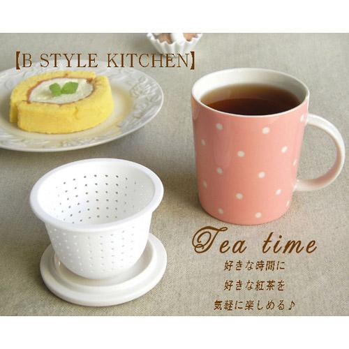 《甜美圓點》矽膠濾網陶瓷馬克杯(附杯蓋) (2)