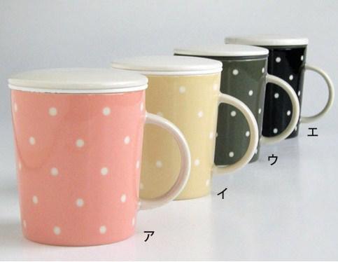 《甜美圓點》矽膠濾網陶瓷馬克杯(附杯蓋) (3)