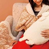 動物紋保暖披肩 (2)