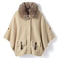 cecile女裝--可拆卸兔毛領混羊毛斗篷外套 (2)