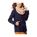 cecile女裝--多色兔毛領雙排釦混羊毛外套 (2)