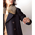 cecile女裝--多色兔毛領雙排釦混羊毛外套 (3)