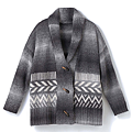cecile女裝--灰色調圖紋牛角扣毛線針織外套