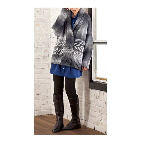 cecile女裝--灰色調圖紋牛角扣毛線針織外套 (3)