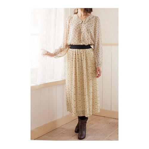 cecile女裝--氣質點點雪紡蝴蝶結印花米色長裙