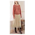 cecile女裝--氣質點點雪紡蝴蝶結印花米色長裙 (2)