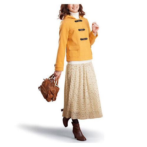 cecile女裝--氣質點點雪紡蝴蝶結印花米色長裙 (4)