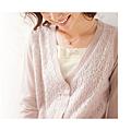 cecile女裝--起毛感蕾絲混羊毛針織薄外套