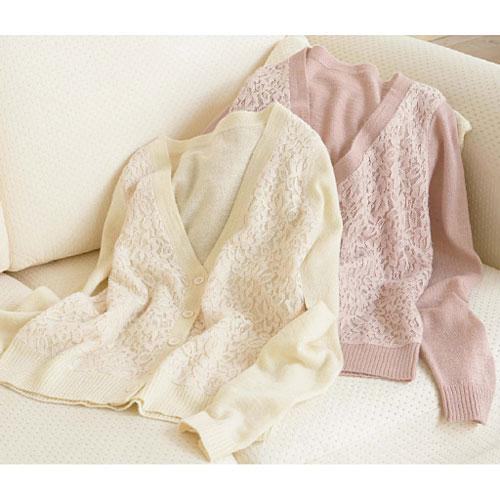 cecile女裝--起毛感蕾絲混羊毛針織薄外套 (2)