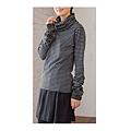 cecile女裝--混搭潮人異素材拼接高領長袖上衣 (2)