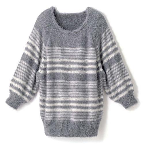 cecile女裝--溫柔感毛海針織灰色條紋毛線罩衫 (2)