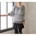 cecile女裝--溫柔感毛海針織灰色條紋毛線罩衫 (3)