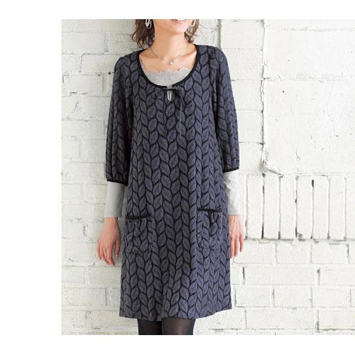 cecile女裝--葉子圖案起毛感五分袖洋裝