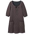 cecile女裝--葉子圖案起毛感五分袖洋裝 (2)