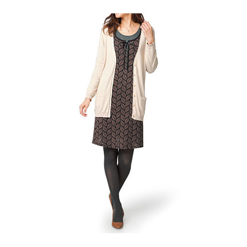 cecile女裝--葉子圖案起毛感五分袖洋裝 (3)