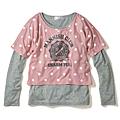 cecile童裝---水玉點點長袖上衣2件組(粉色)