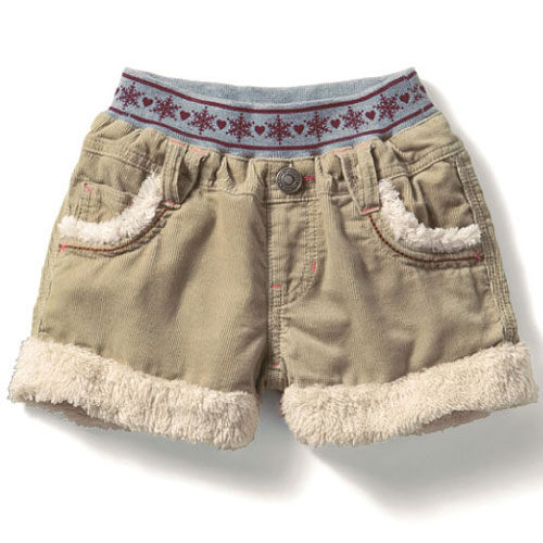 cecile童裝---毛絨滾邊絨布短褲 (2)