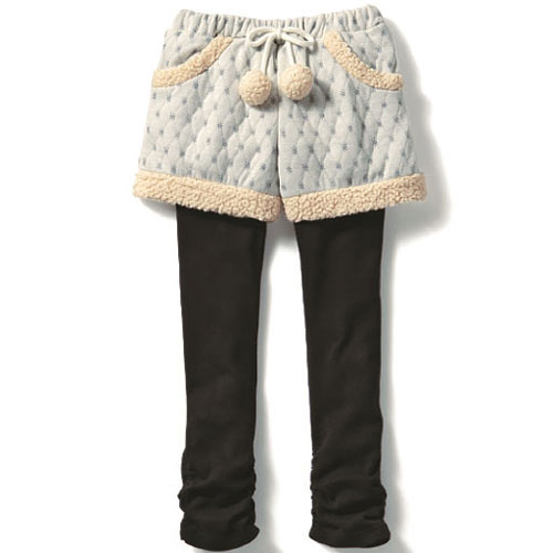 cecile童裝--假二件式舒適緹花布短褲 (2)
