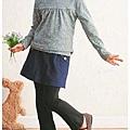 cecile童裝---層次穿搭高領多色上衣(灰色花朵)