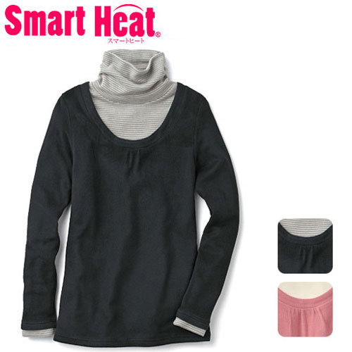 cecile發熱系列--Smart Heat假2件式雙色高領上衣 (2)