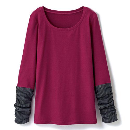 cecile發熱系列---Smart Heat異素材袖口造型長袖上衣 (3)
