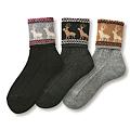 cecile居家配件-日本製可愛冬季圖案反折短襪3雙組