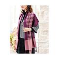 cecile居家配件-光澤千鳥格色塊大披肩圍巾 (4)