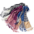 cecile居家配件-光澤千鳥格色塊大披肩圍巾 (6)