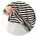 cecile居家配件-腰部雙層保暖伸縮袖口條紋家居服 (2)