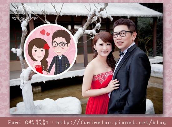 育邦&佳琪Q版婚紗貼紙-人物版