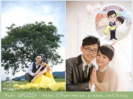 彥宗&柔霈 Q版婚紗設計款立牌+貼紙