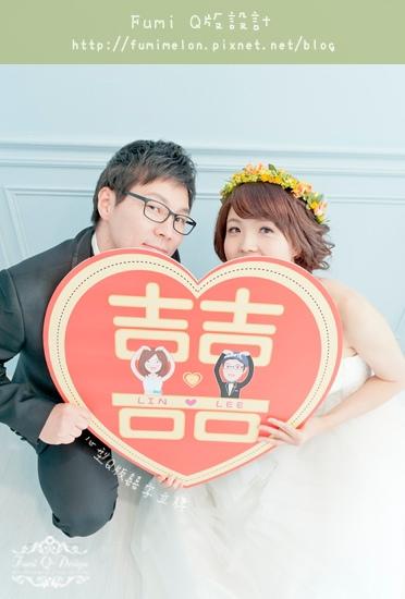 Lee & Lin 心型囍字立牌婚紗照