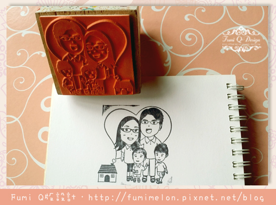 Jessica 全家福設計款 6x6cm木頭橡皮印章