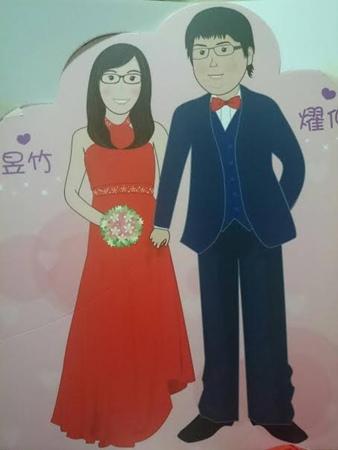 燿仲&昱竹 Q版婚紗設計款立牌