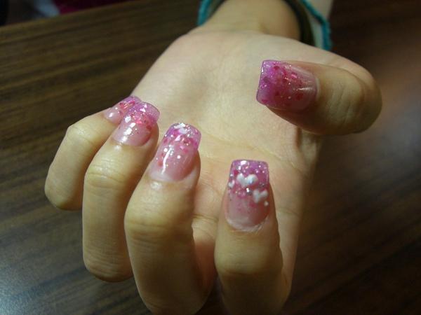 粉紅貝殼璀璨加愛心粉雕