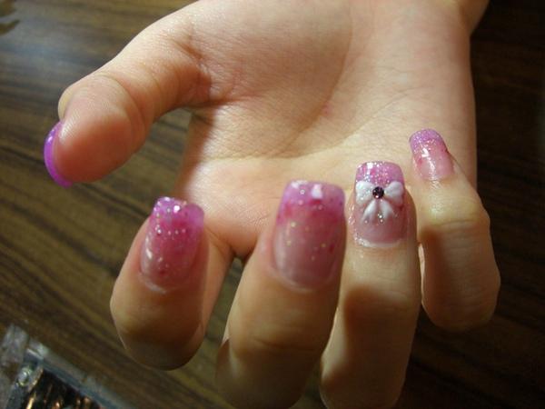 粉紅貝殼璀璨加蝴蝶結粉雕