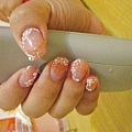 粉橘漸層白花粉雕