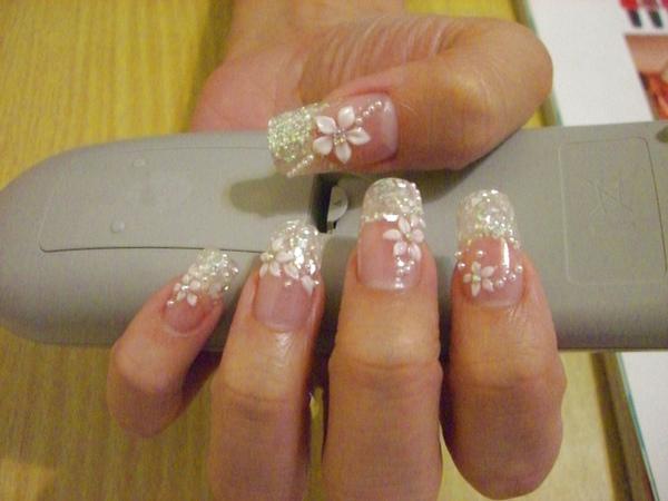 銀白貝殼璀璨法式加粉雕