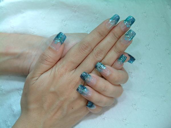 海藍色貝殼璀璨加粉雕