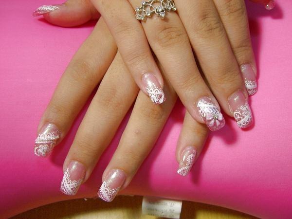粉紅璀璨加彩繪-變化蕾絲風