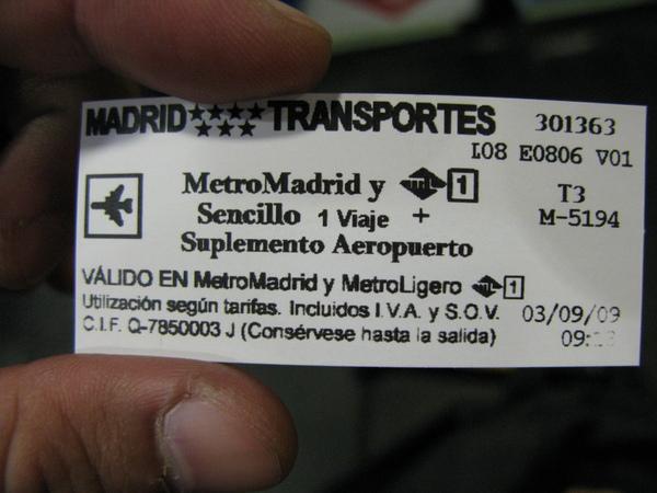 馬德里捷運車票