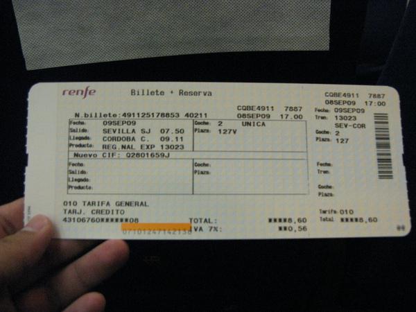 前往哥多華的火車票