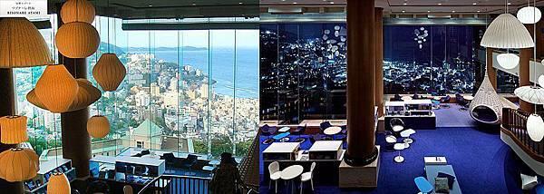 白天與夜晚,這是那裡呢?這是熱海RISONARE飯店,從大廰的挑高玻璃外是一望無盡的熱海港灣。白天&夜晚不同風情,好美麗。