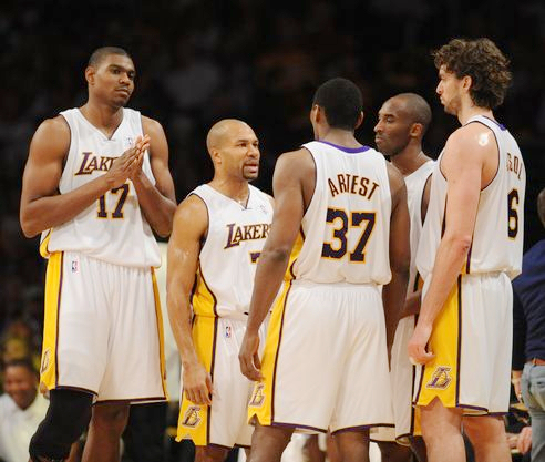 Lakers teammates Bynum Fish Artest Kobe and Gasol.JPG