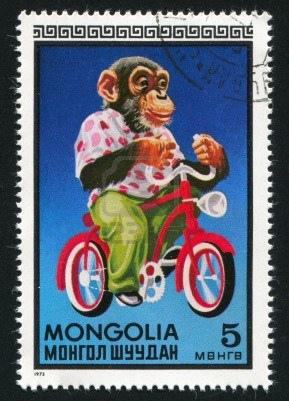 12732284-mongolia--circa-1973-stamp-printed-by-mongolia-shows-chimpanzee-on-bicycle-circa-1973.jpg