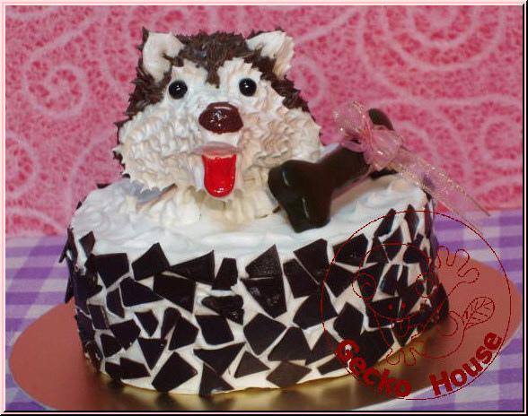 哈士奇鮮奶油巧克力碎片蛋糕(正面)