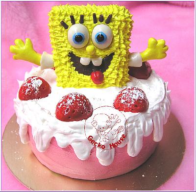 海綿寶寶草莓蛋糕