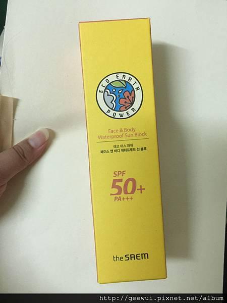 就是不要曬黑之韓國購入防曬分享~The Saem Eco earth power face&body waterproof sun block spf50+ pa+++榮獲近期愛用防曬清單~ 保養品分享